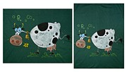 T-shirt Tapestries - Textiles - Cow by Adina Bubulina
