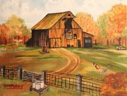 Old Barn Paintings - Cow Barn by Terry Lewey
