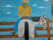 Cow Boy Paintings - Cow boy by Candra Conner