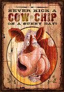 Bovine Framed Prints - Cow Chip Framed Print by JQ Licensing