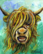 Bulls Metal Prints - Cow Face 101 Metal Print by Linda Mears