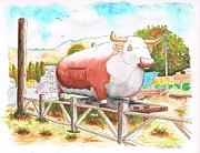 Food Stores Paintings - Cow-Fast-Food-in-Three-Rivers-CA by Carlos G Groppa