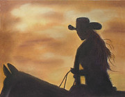 Ranch Pastels Posters - Cow Girl at Sunset Poster by Julie Brugh Riffey