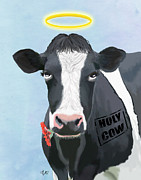 Cow Framed Prints Framed Prints - Cow Holy Cow Framed Print by Kelly McLaughlan