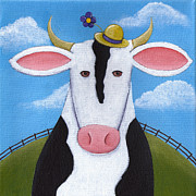 Cute Painting Posters - Cow Nursery Wall Art Poster by Christy Beckwith