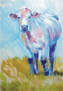 Mike Jory Cow Posters - Cow Paintings Poster by Mike Jory
