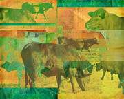 Photo Collage Digital Art Prints - Cow Pasture Collage Print by Ann Powell