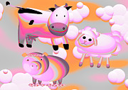 Friendly Cartoon Posters - Cow Sheep and Pig Oh My Poster by Liane Wright