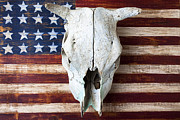 Animal Flag Art Framed Prints - Cow skull on folk art American flag Framed Print by Garry Gay