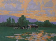 Sunset Scenes. Pastels Posters - Cow Sunset Poster by Doyle Shaw