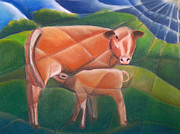 Calf Pastels - Cow with Calf by Miriam Borg