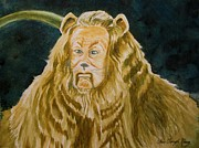 Characters Painting Originals - Cowardly Lion by Christine Kfoury