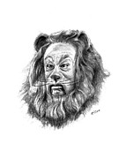 Metro Drawings Metal Prints - Cowardly Lion Metal Print by Lou Ortiz
