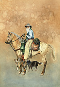 Watercolorist Framed Prints - Cowboy and Appaloosa Framed Print by Nan Wright