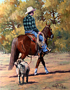 Heeler Paintings - Cowboy and Dog by Randy Follis