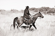 Ranch Life Prints - Cowboy and Dogs Print by Cindy Singleton