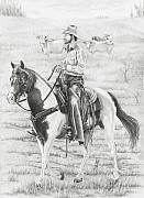Cowboy Drawing Originals - Cowboy and Horse No Fences by Murphy Elliott