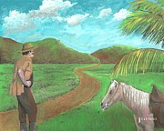 Featured Mixed Media Prints - Cowboy and Mare Print by Luis Josephus