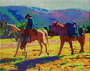 Thomas Bertram Poole Metal Prints - Cowboy and Pack Mule 2 Metal Print by Thomas Bertram POOLE