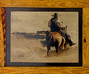 Painter Photo Photo Metal Prints - Cowboy Art by L. Sanchez Metal Print by Al Bourassa