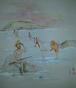 Debbi Chan - Cowboy Bathing And Horse