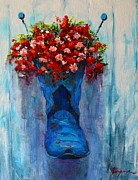 Outdoor Still Life Paintings - Cowboy Boot Unusual Pot Series  by Patricia Awapara