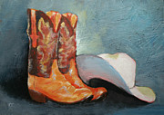 Gear Painting Posters - Cowboy Boots and Hat Poster by Carol Jo Smidt