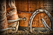 Horse Shoe Prints - Cowboy Boots and Spurs Print by Paul Ward