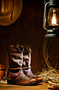 Kerosene Lamp Posters - Cowboy Boots at the Ranch Poster by Olivier Le Queinec