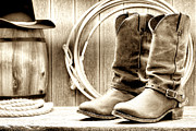 Western Photo Framed Prints - Cowboy Boots Outside Saloon Framed Print by Olivier Le Queinec