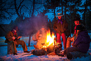 Snowy Evening Prints - Cowboy Campfire Print by Inge Johnsson