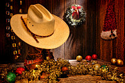 Western Decor Framed Prints - Cowboy Christmas Party Framed Print by Olivier Le Queinec