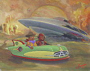 Wrecked Paintings - Cowboy Claude and Rojo Robo on Vacation by Charles Fennen