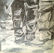 Straps Drawings Prints - Cowboy Crowd Boot Straps Print by Diane Phelps