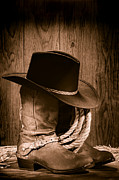 Sepia Metal Prints - Cowboy Hat and Boots Metal Print by Olivier Le Queinec