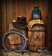 Horseshoes Posters - Cowboy Hat and Bronco Riding Gloves Poster by Paul Ward