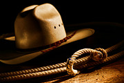 Cowboy Gear Prints - Cowboy Hat and Lasso Print by Olivier Le Queinec