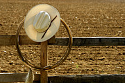 Headwear Prints - Cowboy Hat and Lasso on Fence Print by Olivier Le Queinec
