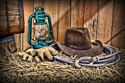 Leather Gloves Prints - Cowboy Hat and Rodeo Lasso Print by Paul Ward