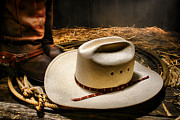 Rope Framed Prints - Cowboy Hat on Lasso Framed Print by Olivier Le Queinec