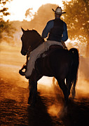 Saddlebred Posters - Cowboy in the Dust Poster by Leslie Heemsbergen