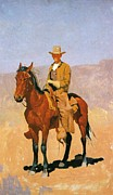 Western Western Art Prints - Cowboy Mounted On A Horse Print by Frederic Remington