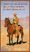 Horse Whip Digital Art Posters - Cowboy Mounted On A Horse With Quote Poster by Frederic Remington