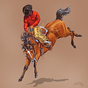 Western Shirt Posters - Cowboy On A Bucking Horse Poster by Randy Follis