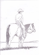 Wild Horses Drawings - Cowboy on Horseback by Mary Johnson