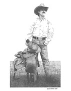 Ranching Drawings - Cowboy by Paul Shafranski