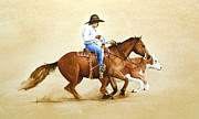 Roping Horse Paintings - Cowboy Pening by Richard Hahn