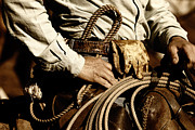 Cowboy Hands Prints - Cowboy Rides in Sunset Light Print by Lincoln Rogers