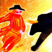 Bull Riders Prints - Cowboy Rodeo Clown and Black Bull 1 Print by Richard W Linford
