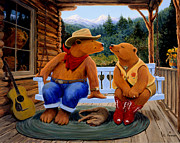 Log Cabin Art Paintings - Cowboy Romance by Charles Fennen